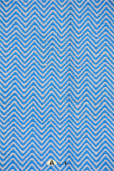 Chevron Baby Blue Soft Cotton Flat Weave Dhurrie Rug, 4x6 ft - theattic-dubai.com