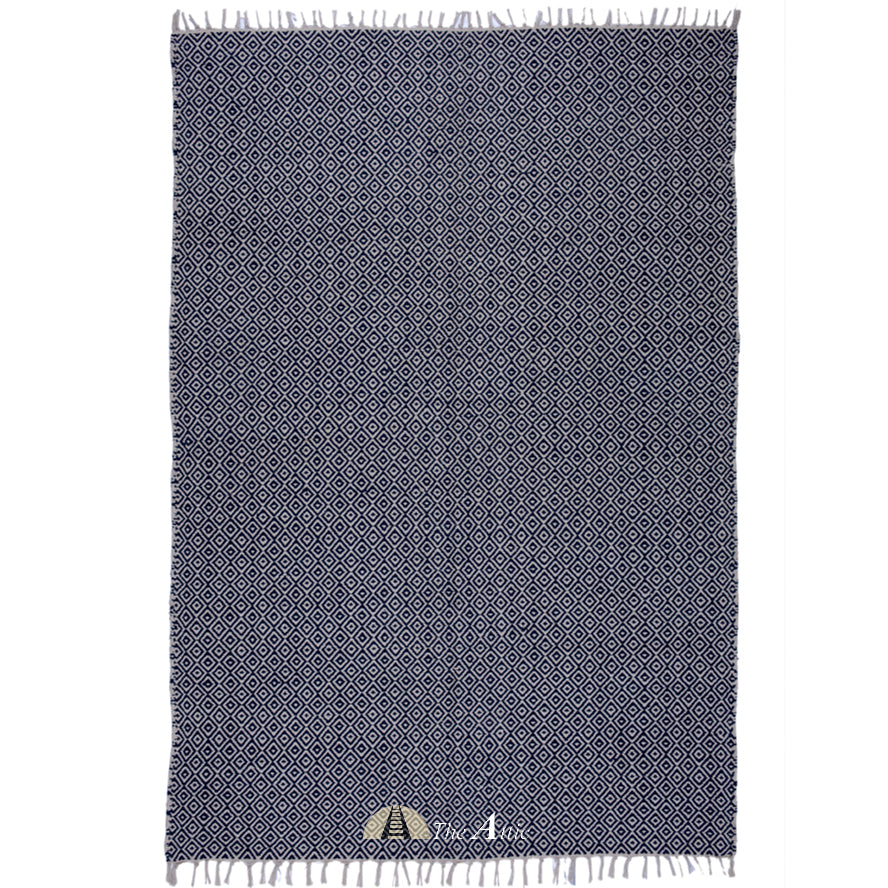 Navy and White Soft Cotton Flat Weave Dhurrie Rug