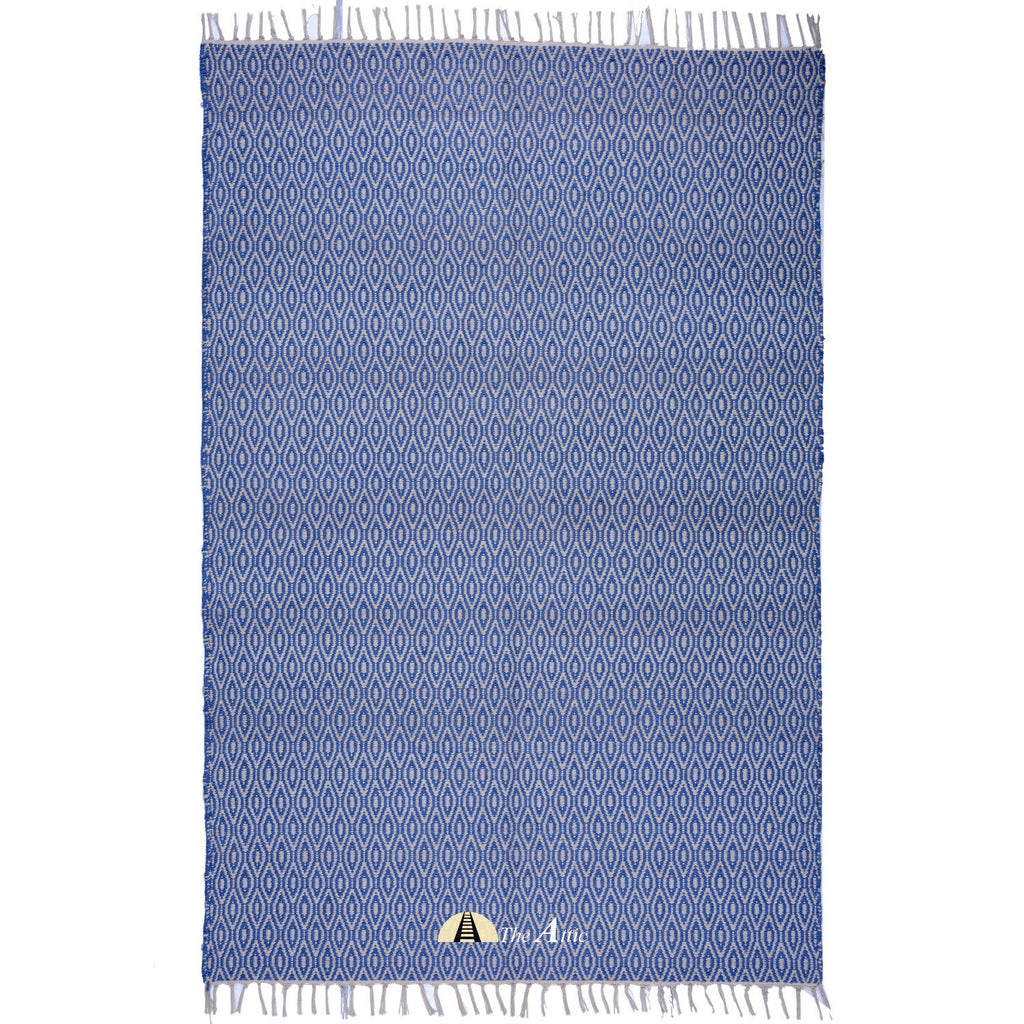 Parisian Blue and White Soft Cotton Flat Weave Dhurrie Rug, 4x6 ft - theattic-dubai.com