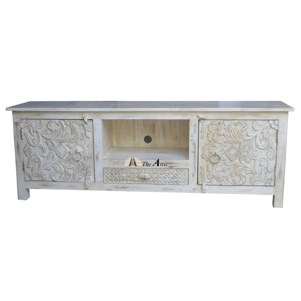 White Carved TV Cabinet, 160cm