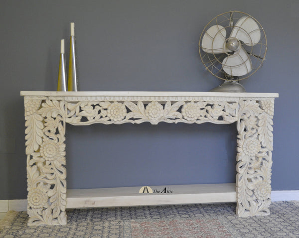 White Carved Console With Shelf