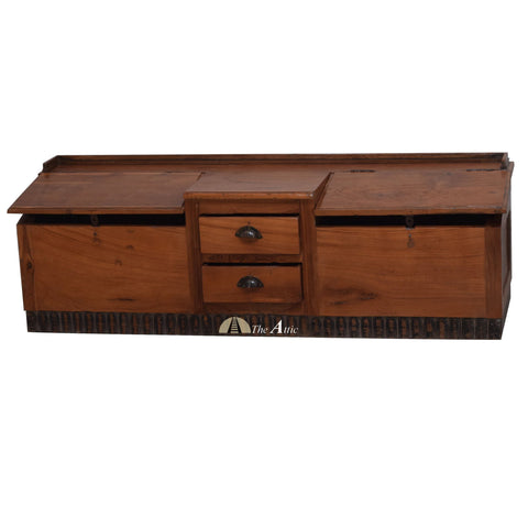 Vintage Accountants' Double Desk / Shoe Bench