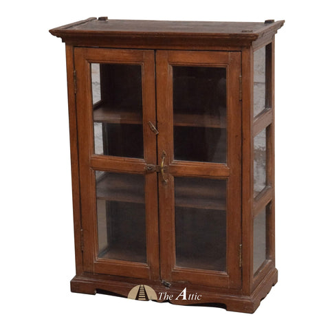 Vintage Small Brown Display Cabinet