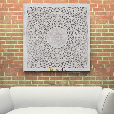 White Carved Ornate Wall Panel