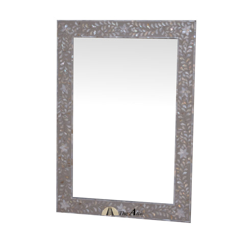 Mother of Pearl Wall Mirror, Grey