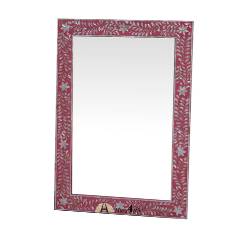 Mother of Pearl Wall Mirror, Pink
