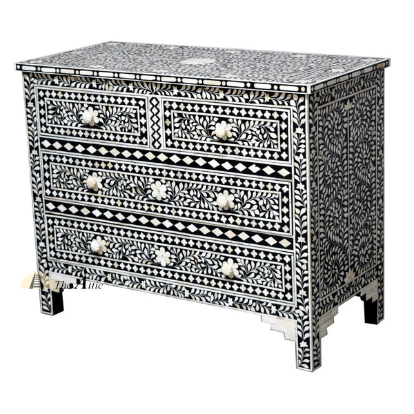Black & White Bone Inlay Console Chest of Drawers