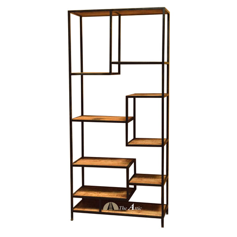 Industrial Staggered Multi-level Shelf Bookcase Black - theattic-dubai.com