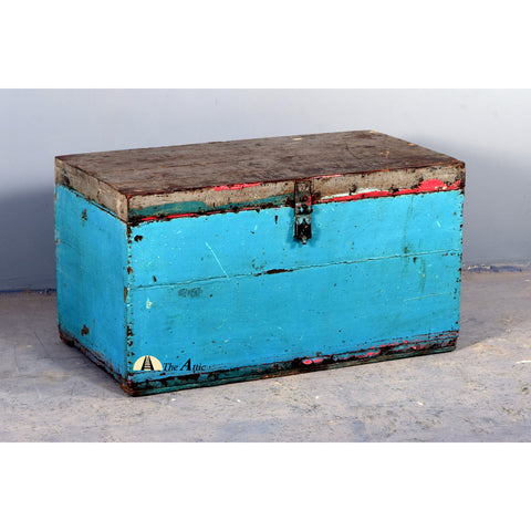 Distressed Blue Vintage Accountants' Chest - TheAttic-Dubai.com