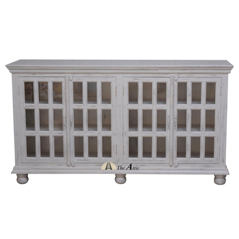 4-Door Rectangular Glass Pane Buffet