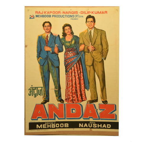 Andaz Original Vintage Bollywood Movie Poster - theattic-dubai.com