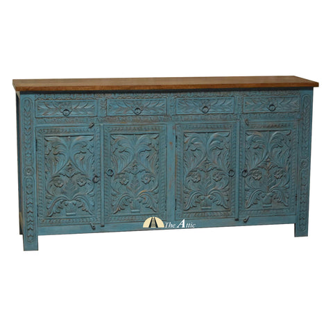 Blue Hand Carved Jali 4-Door 4-Drawer Buffet Sideboard