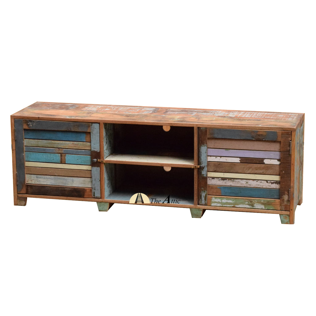 Rustic Reclaimed Wood Slatted Door TV Stand Media Console, 150cm