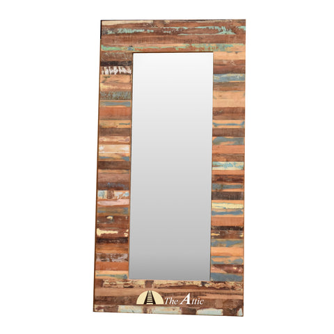 Colorful Reclaimed Wood Leaning Mirror Home Decor