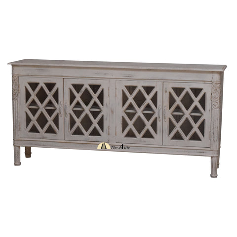 Diamond Pattern Glass Pane Credenza Sideboard Shabby Chic White Distressed