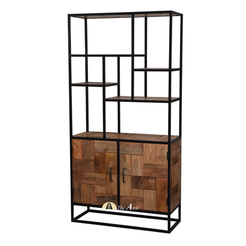 Industrial Staggered Shelf with Cabinet