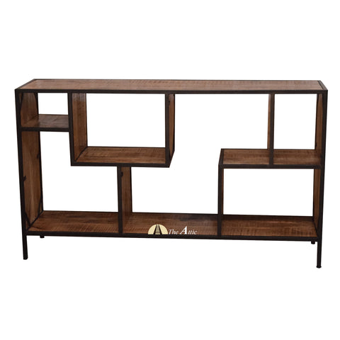 Industrial Staggered Media Console Hall Table Shelf