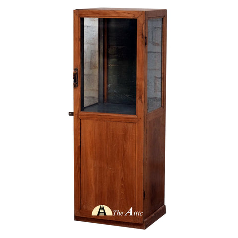 Brown Single Door Vintage Display Cabinet