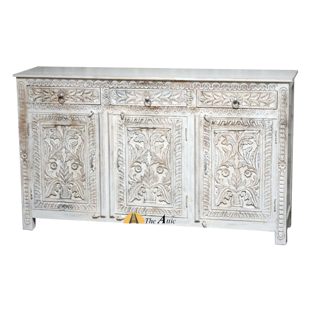 Carved 3-Door 3-Drawer Credenza