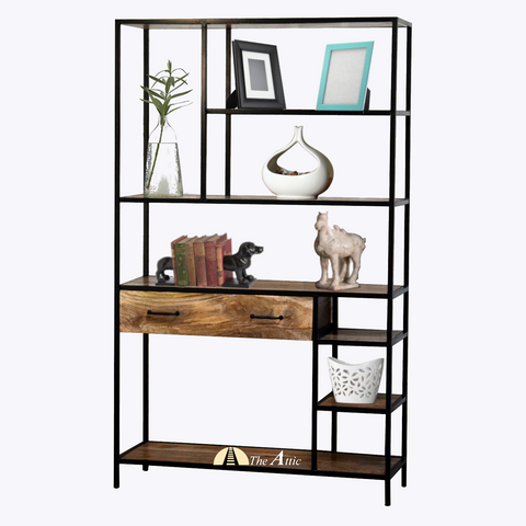 Industrial Staggered Shelf with Drawer