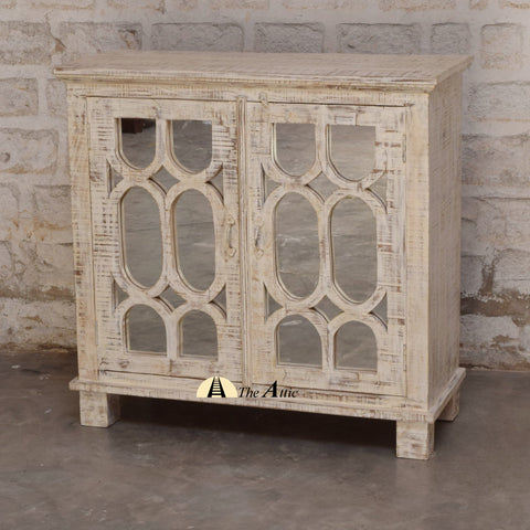Rustic Distressed White 2-Door Mirrored Side Cabinet