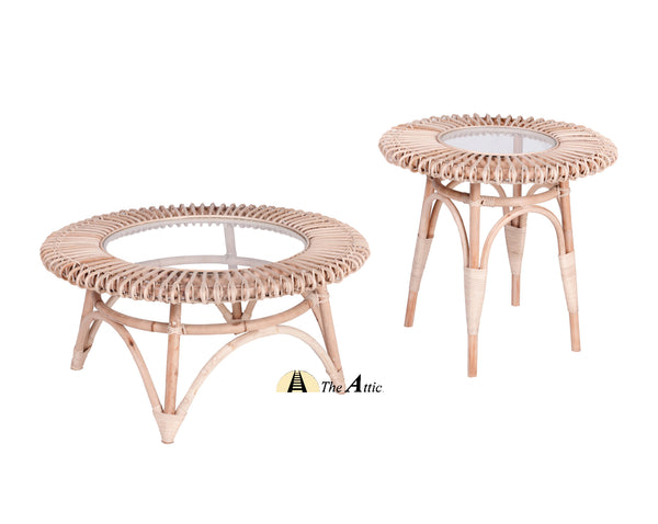 Dahlia Rattan Round Coffee Table and Side Table with Glass, Rattan Furniture - The Attic Dubai