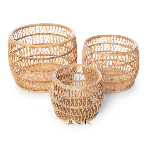 Dahlia Rattan Basket - The Attic Dubai