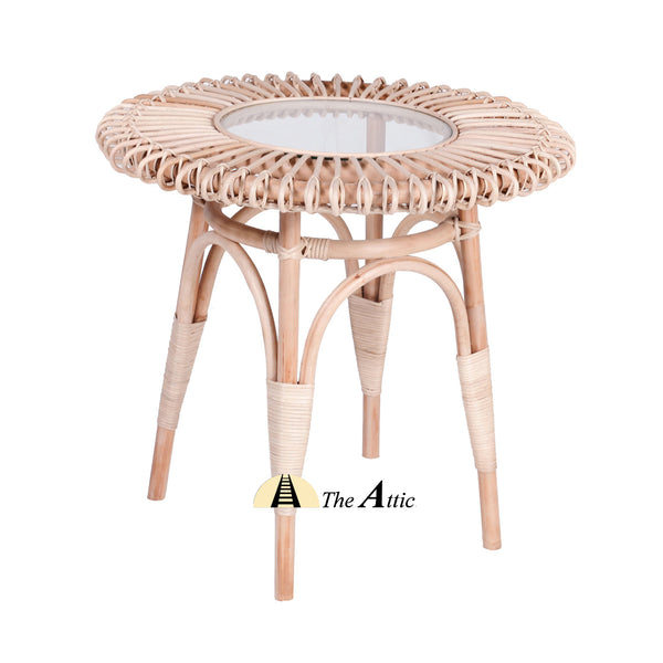 Dahlia Rattan Round Side Table with Glass, End Table, Rattan Furniture - The Attic Dubai