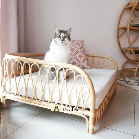 Daisy Rattan Pet Bed, Stylish Dog Bed - TheAttic-Dubai.com