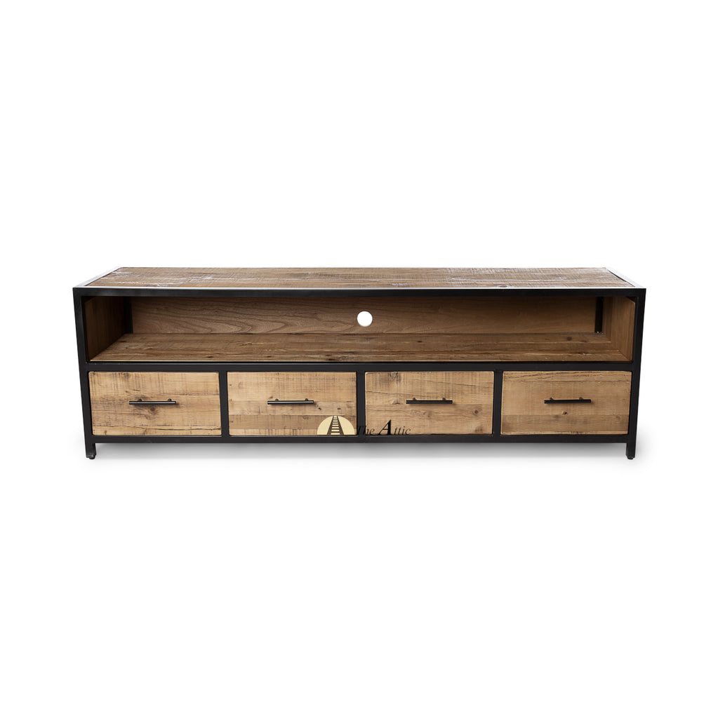 Dallas 4-Drawer Industrial Media Console TV Stand - TheAttic-Dubai.com