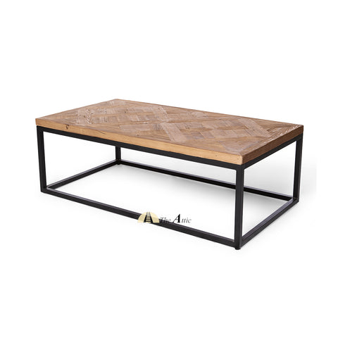 Industrial Parquet Reclaimed Wood Coffee Table - theattic-dubai.com