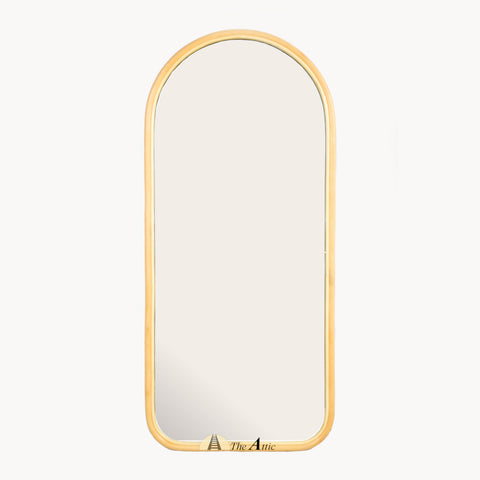 Deidre Rattan Arch Leaning Mirror, Cane Floor Mirror - The Attic Dubai