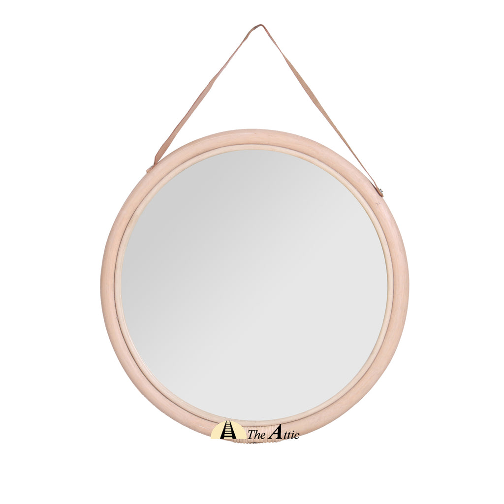 Rattan Disc Round Wall Mirror - TheAttic-Dubai.com