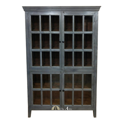 Grey Hutch Tall Glass Cabinet