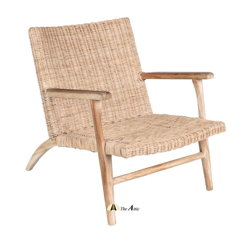 Genoa Rattan Lounge Arm Chair; Natural Rattan Wicker Furniture - The Attic Dubai