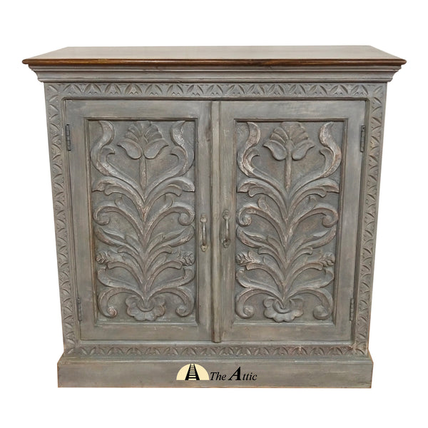 Grey Carved 2-Door Side Cabinet - The Attic Dubai
