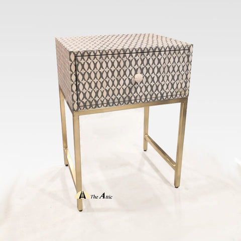 Grey Bone Inlay Side Table with Gold Legs, Nightstand - TheAttic-Dubai.com