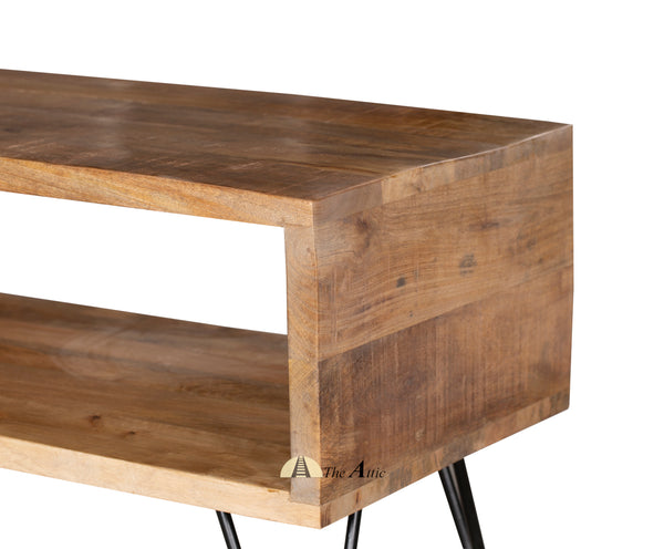Retro-Box-TV-Stand-w-Metal-Hairpin-Legs-Solid-Wood-Rustic-Unit-Table - The Attic Dubai