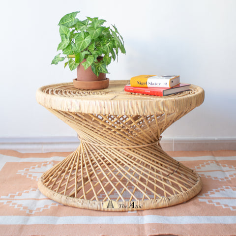 Helix Hour Glass Natural Rattan Round Coffee Table - theattic-dubai.com