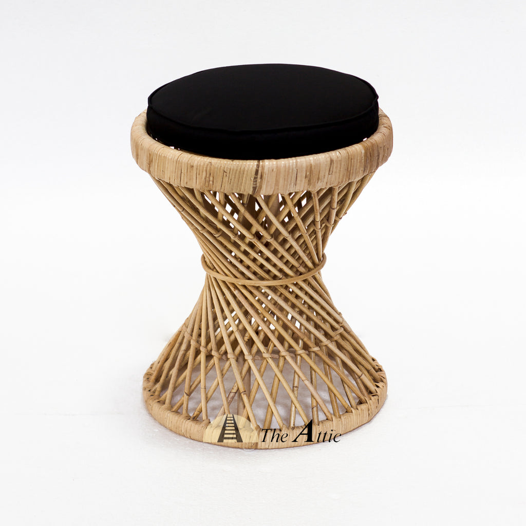 Helix Hourglass Natural Rattan Round Stool with Black Cushion - theattic-dubai.com