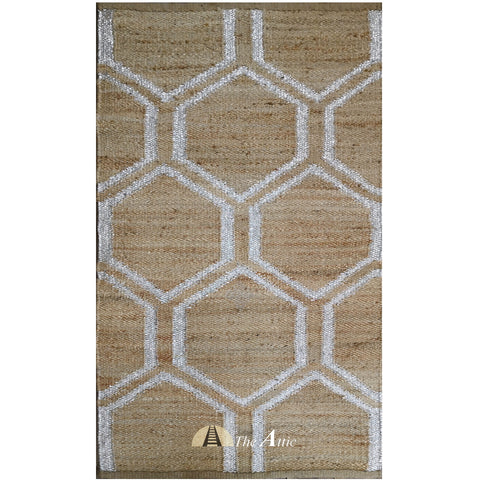 Hemp Dhurrie Rug with Silver Hexagon Weave, 3x5 ft