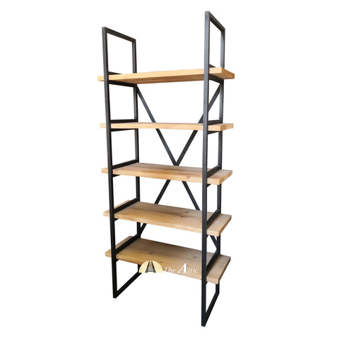 Industrial X-Shelf Etagere Bookcase Display