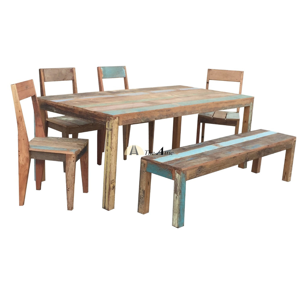Reclaimed Wood 200cm 6-seater Dining Table Set with Bench and 4 Chairs
