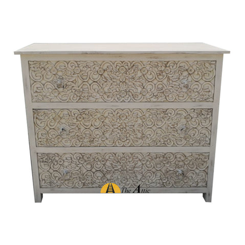 Carved Distressed White Chest of 3 Drawers