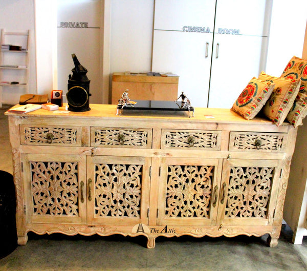 4-Door 4-Drawer Buffet with Sandblasted Finish carved-bedroom-furniture-inspirational-french-design-carved-sideboard