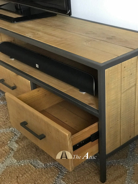 Gaia large Industrial TV stand unit media console