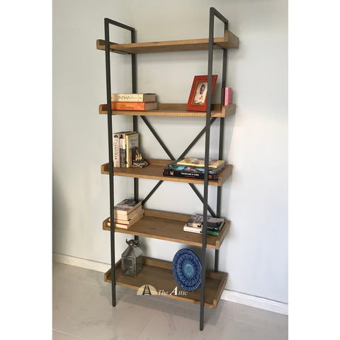 Gaia Reclaimed Timber Industrial 5-tier Bookshelf