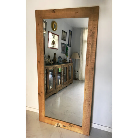 Gaia large Industrial reclaimed timber pine wood leaning mirror living room