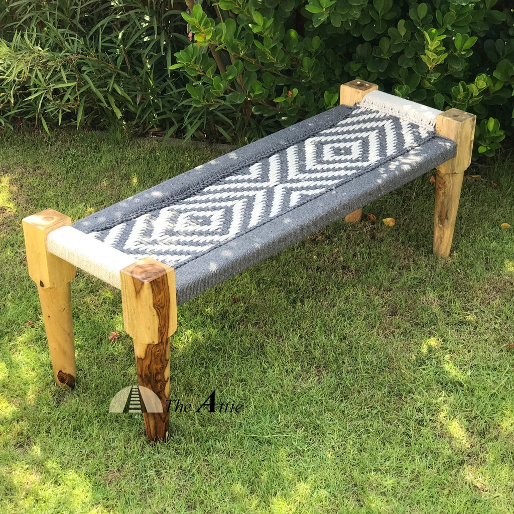Hand-woven Charpai Bench, Grey & White
