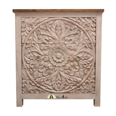 Rustic Carved Chest of 3 Drawers